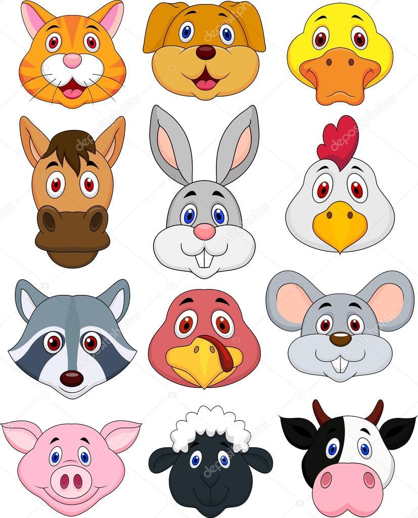 Coleção De Desenhos Animados Cabeça Animal — Vetor De Stock