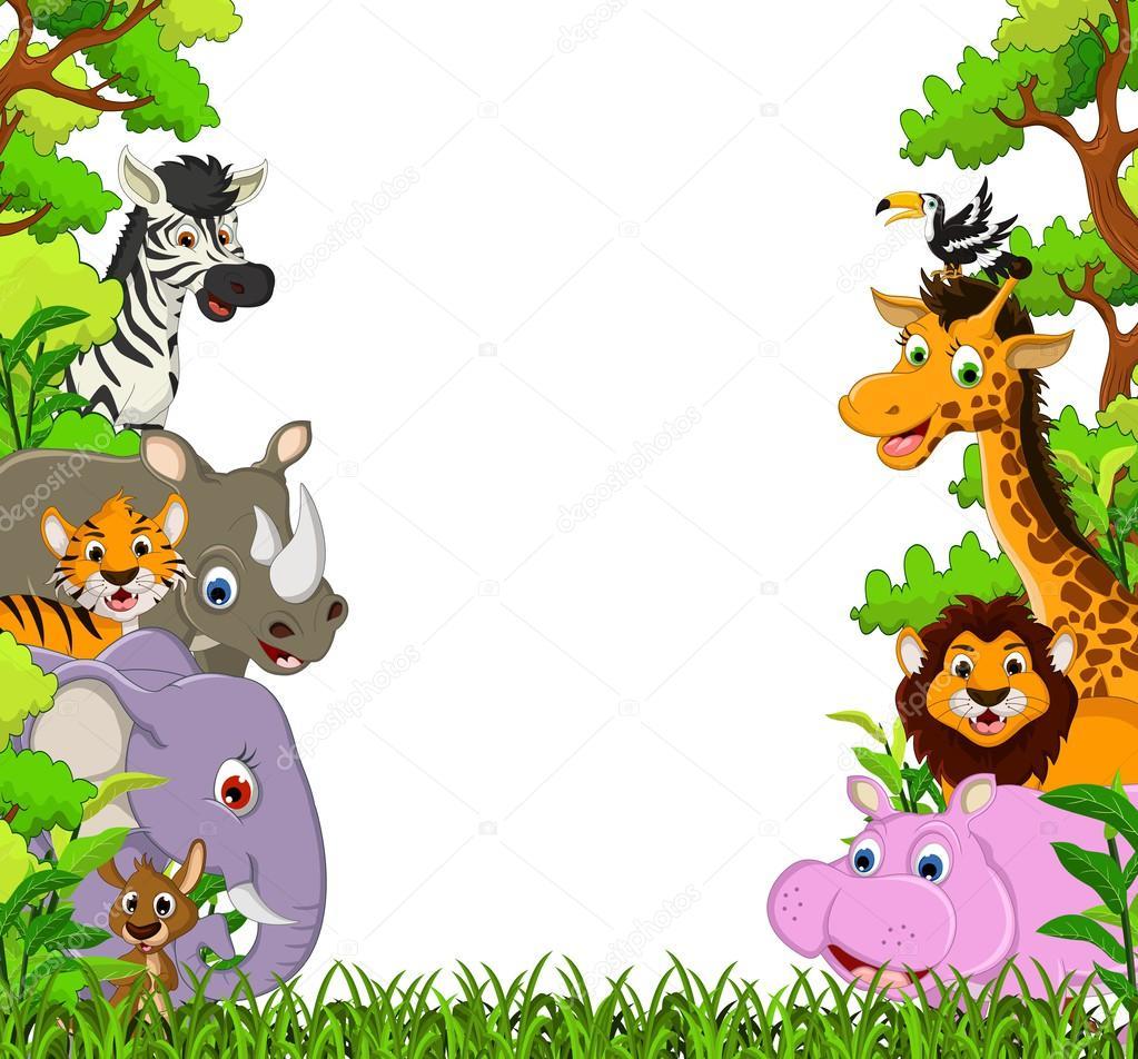Desenho De Animais Selvagens De Animais Fofos — Vetores De Stock