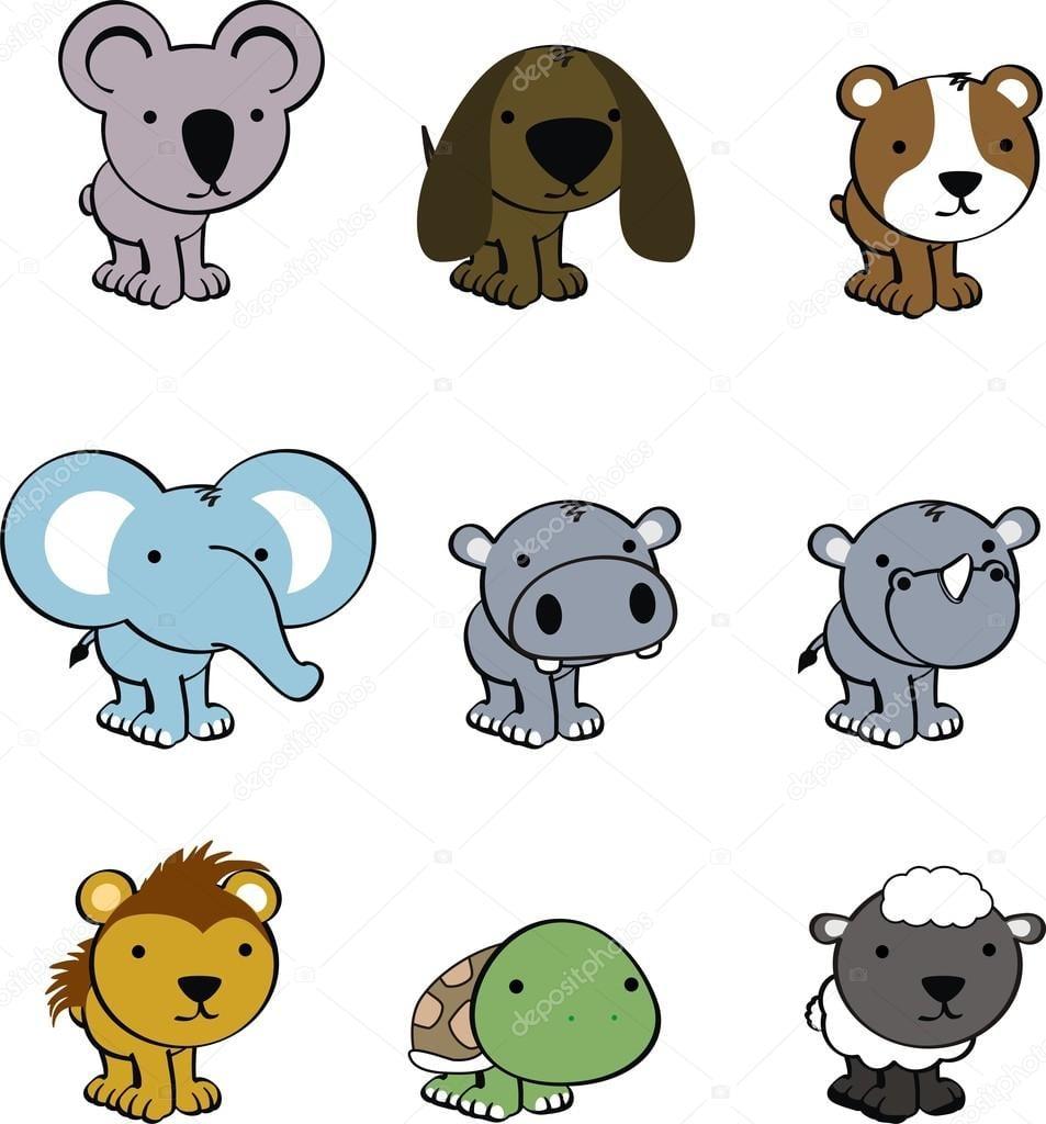 Conjunto De Desenhos Animados De Bebê De Animais Fofos — Vetores