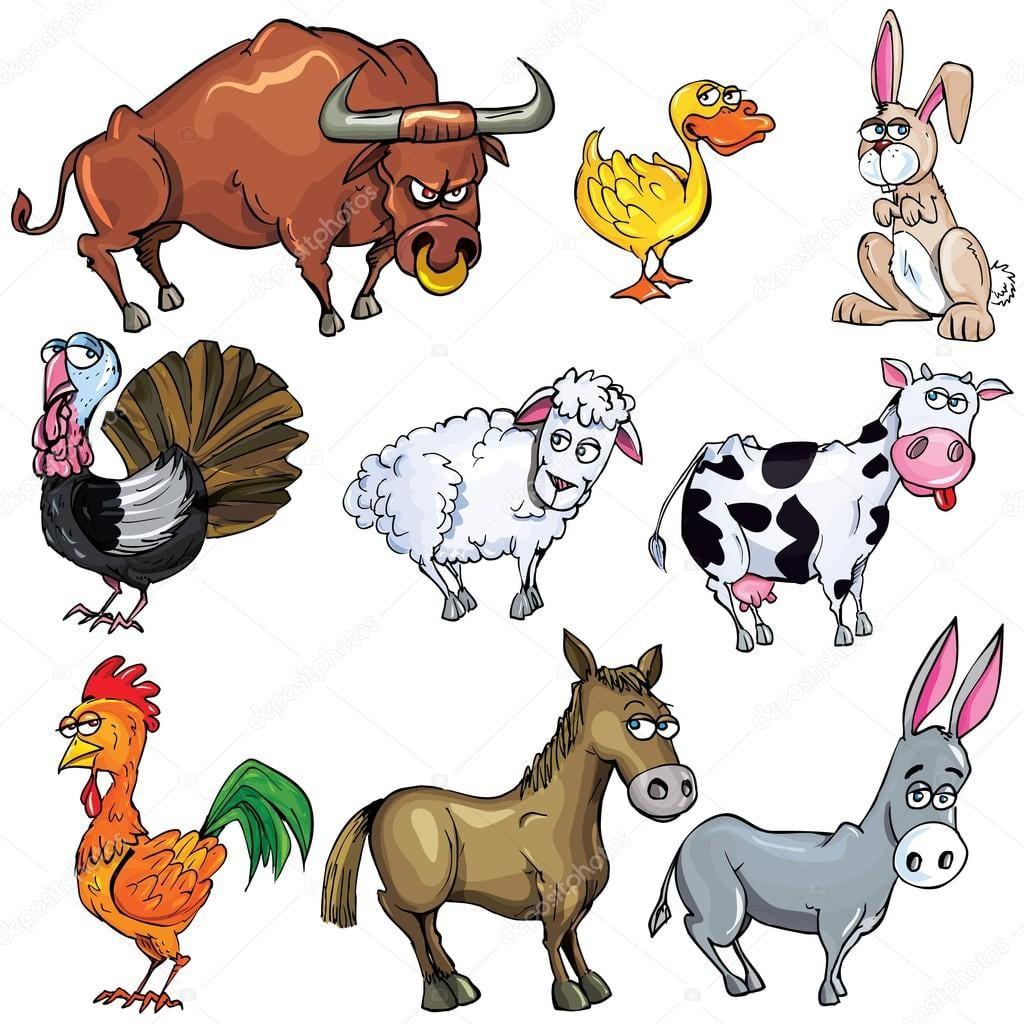 Desenho Animado Conjunto De Animais Da Fazenda — Vetor De Stock