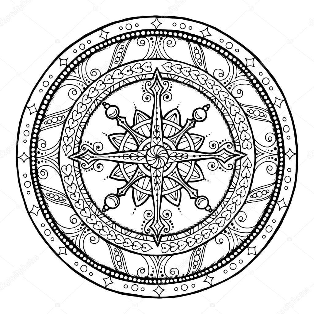 Floco De Neve Doodle Na Mandala De Natal étnico — Vetores De Stock