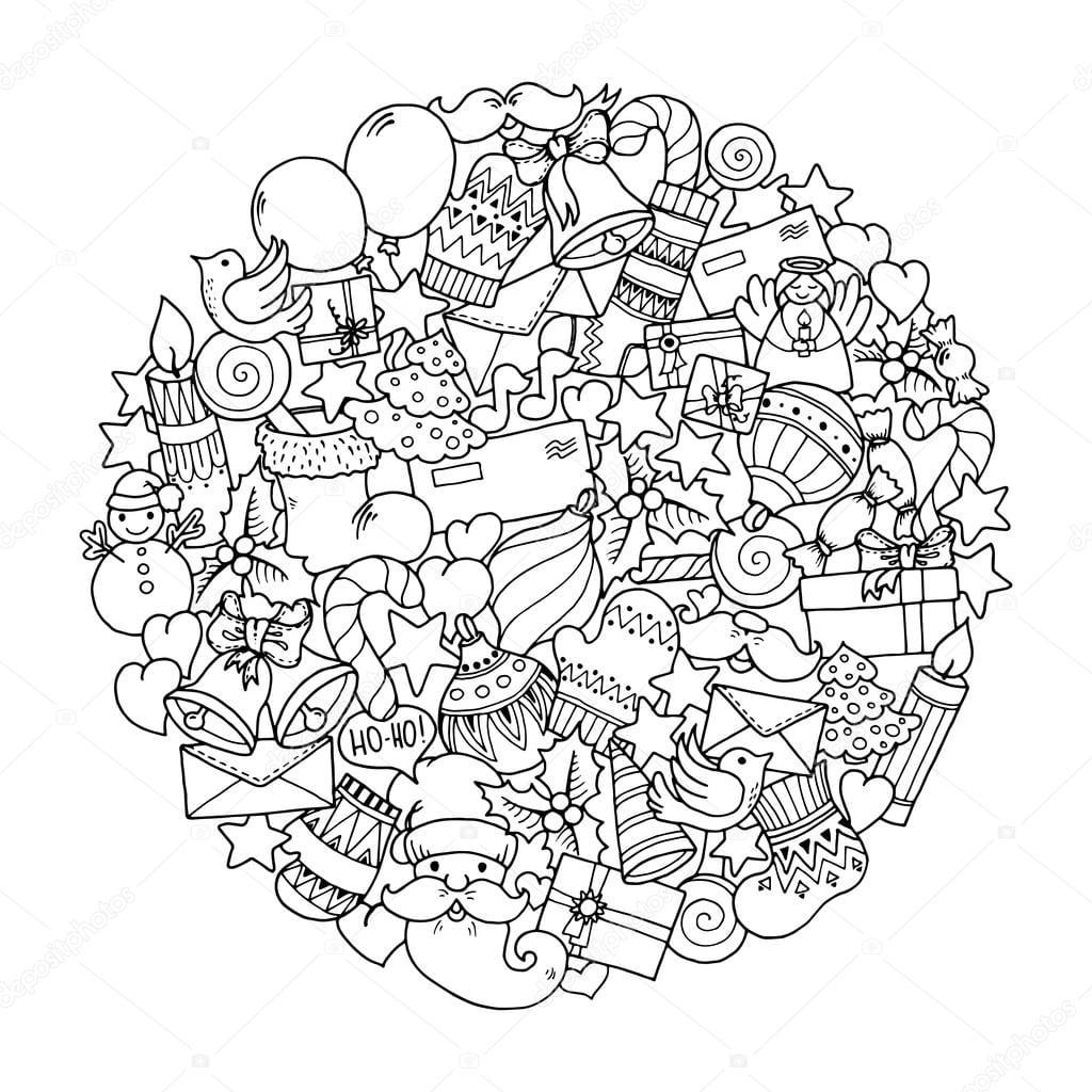 Tema De Natal  Mandala De Inverno Doodle — Vetor De Stock