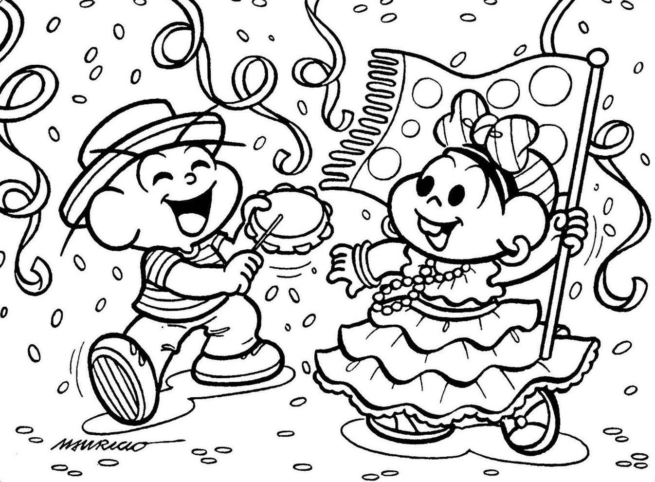 Dibujos Ideia Criativa  Desenho De Carnaval Com Turma Da Mônica