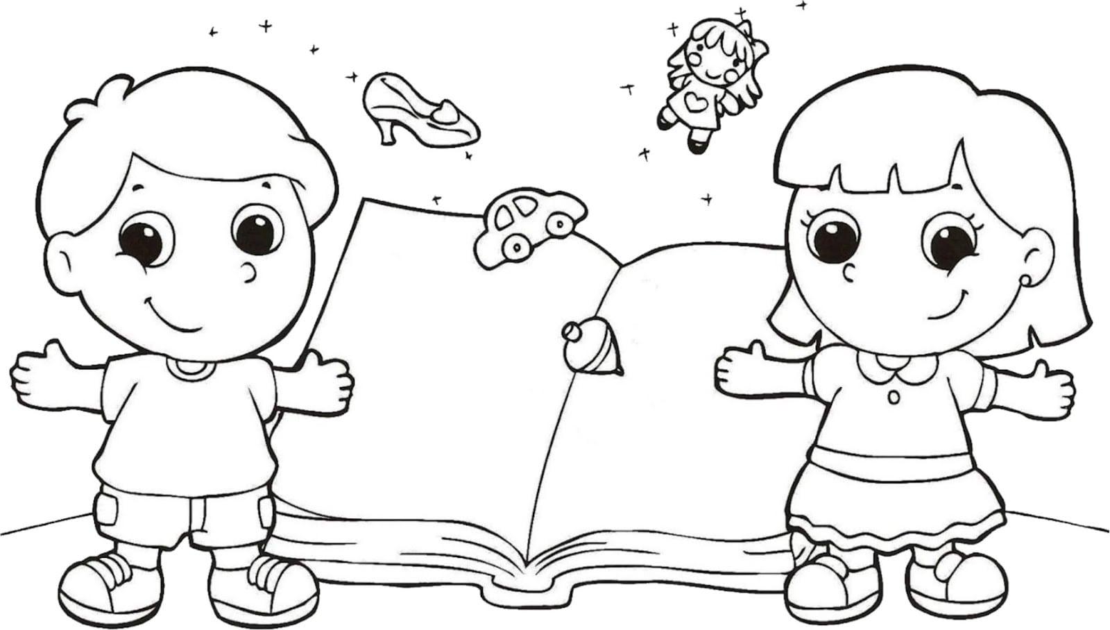 Dibujos Ideia Criativa  Desenho Do Dia Do Livro Infantil Para Colorir