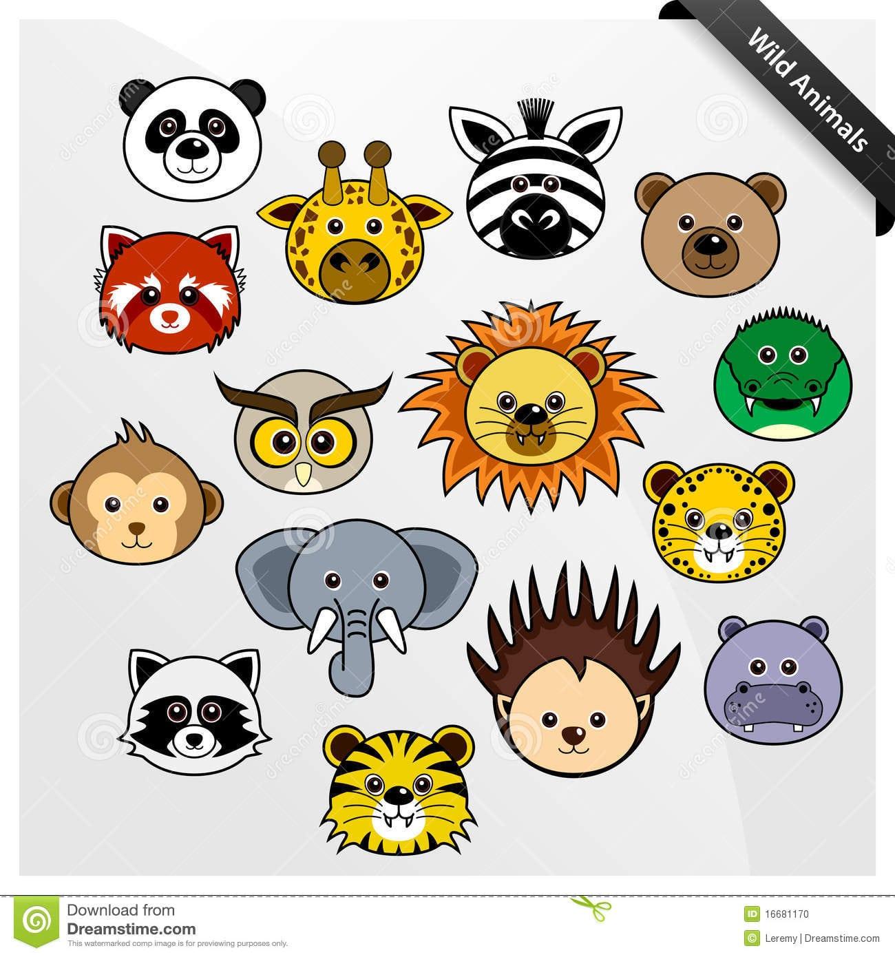 Desenhos Animados Bonitos Animais Dos Animais Selvagens Ilustração