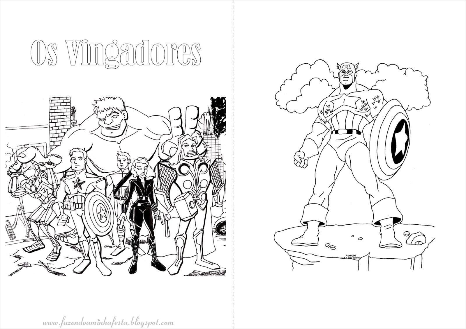 Desenho Vingadores Para Colorir
