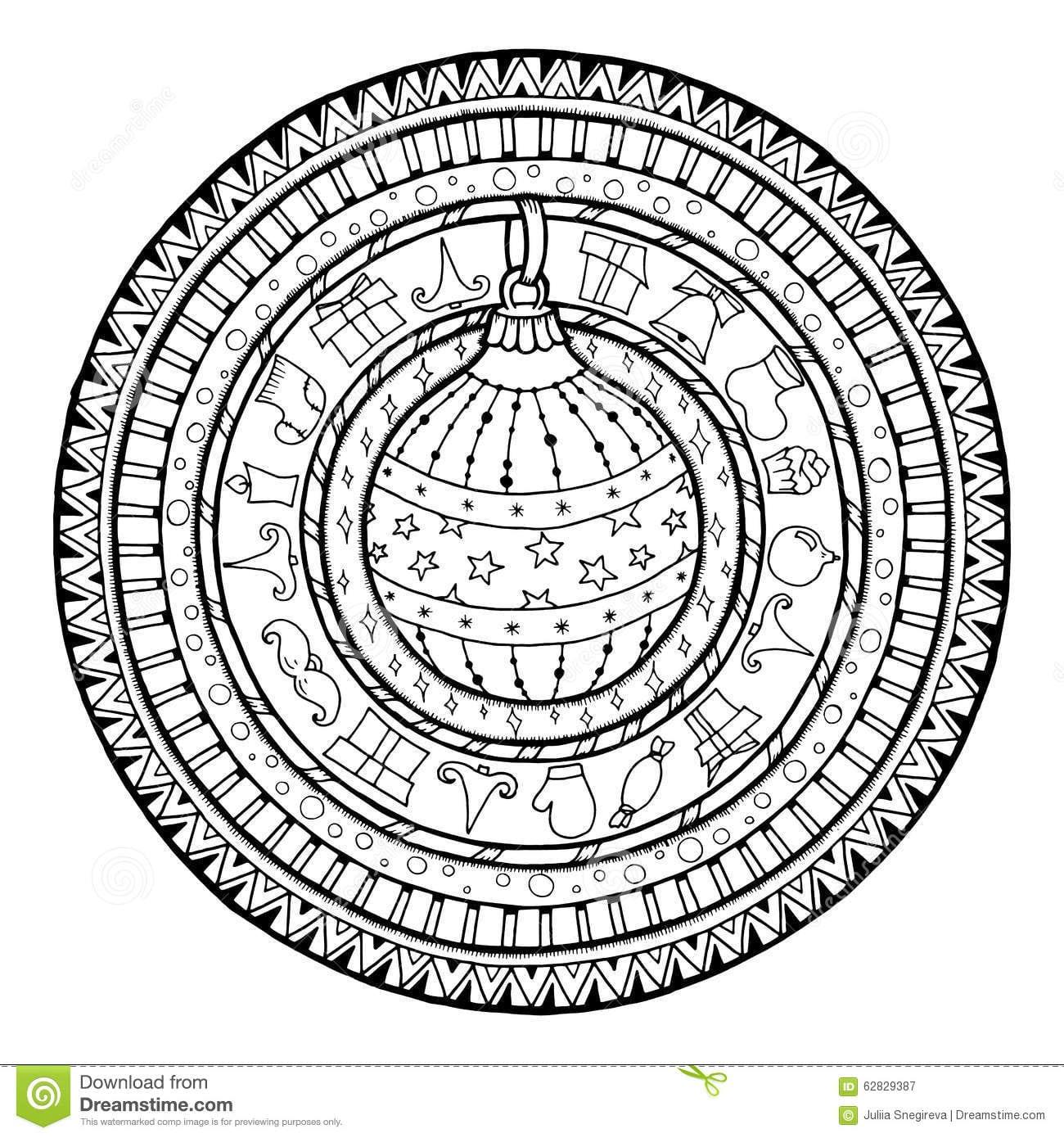 Doodle Christmas Ball On Ethnic Mandala  Stock Vector