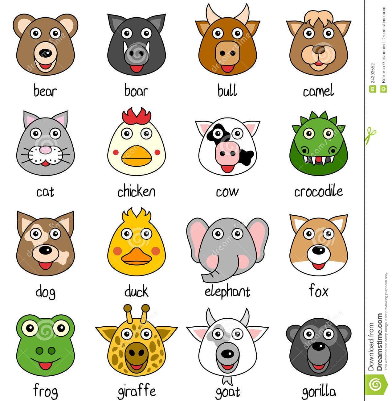 Faces Animais Dos Desenhos Animados Ajustadas [1] Ilustração Do