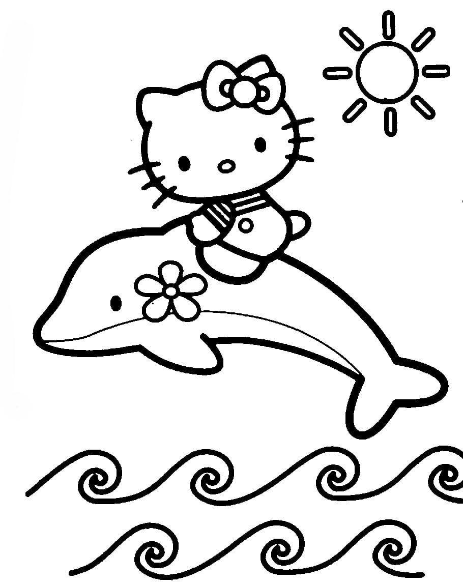 Desenho De Hello Kitty Nadando Com Golfinho Para Colorir