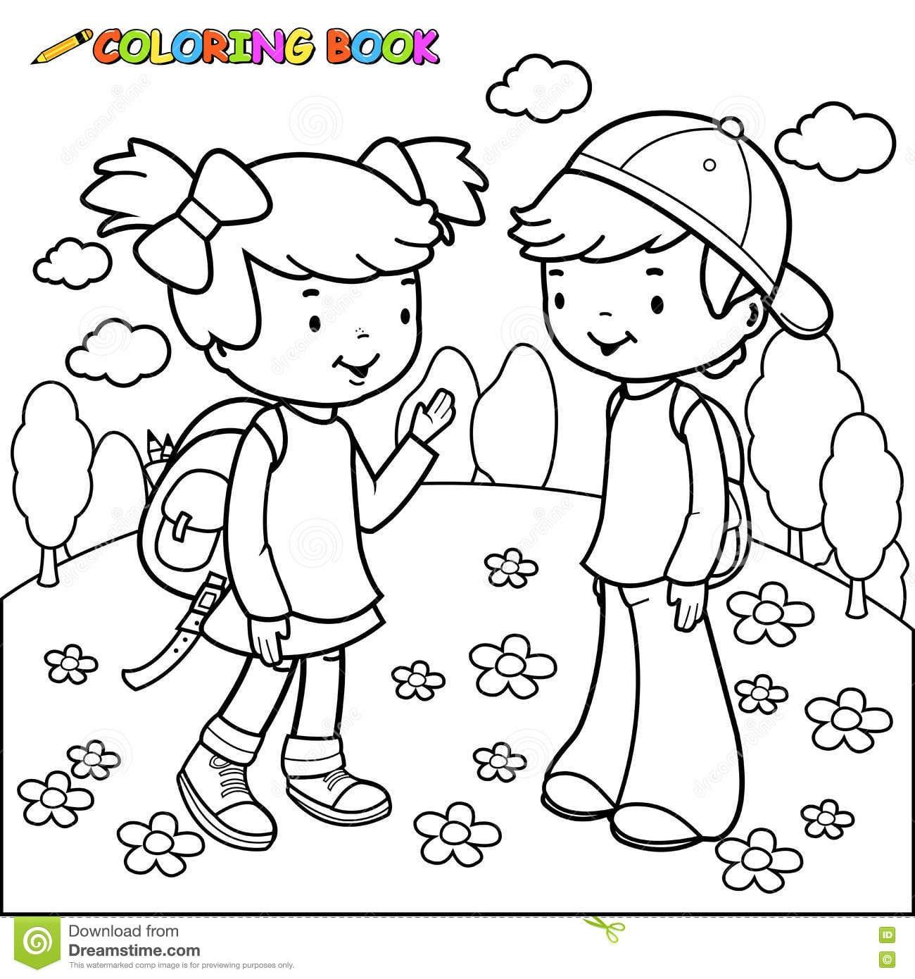 Imagem De Menino E Menina Para Colorir – Pampekids Net