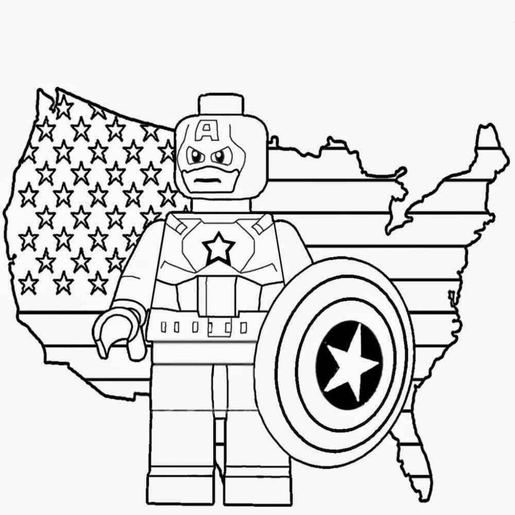 Desenho De Lego Capitão América Para Colorir