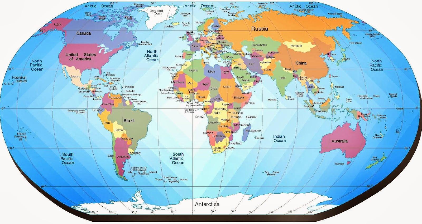 Mapa Do Mundo Para Imprimir