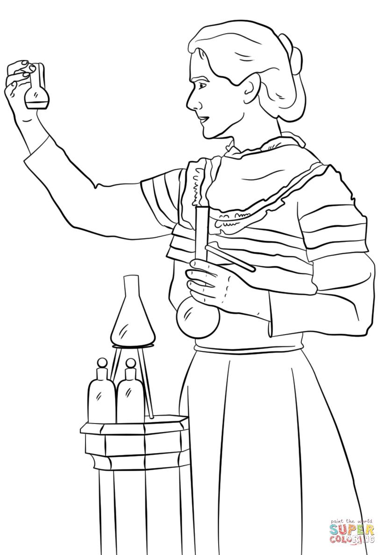 Desenho De Marie Curie Para Colorir