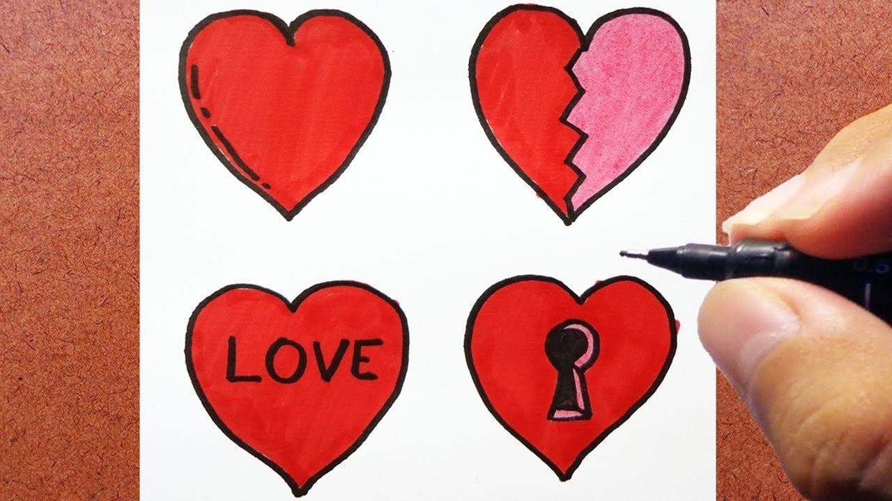 Como Desenhar Cartão 4 Corações Dia Dos Namorados