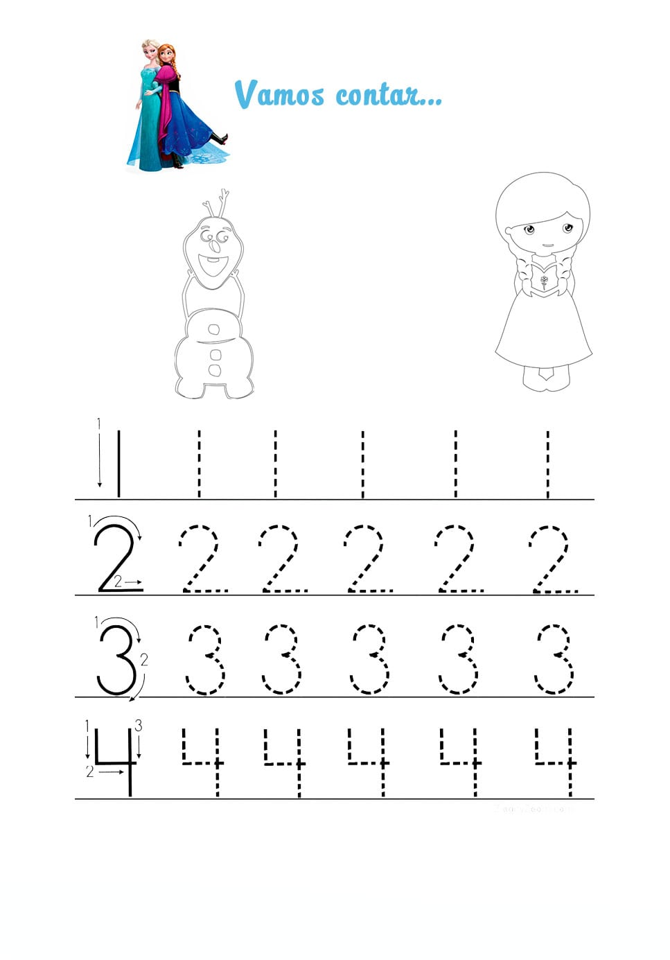 Desenho De Números Pontilhados Elsa Para Colorir