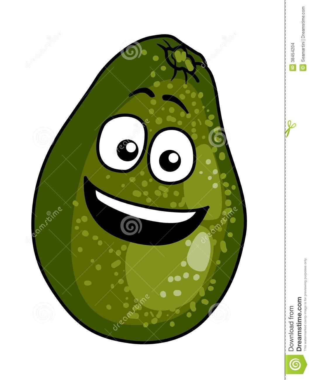 Pera De Abacate Verde Madura Feliz Dos Desenhos Animados