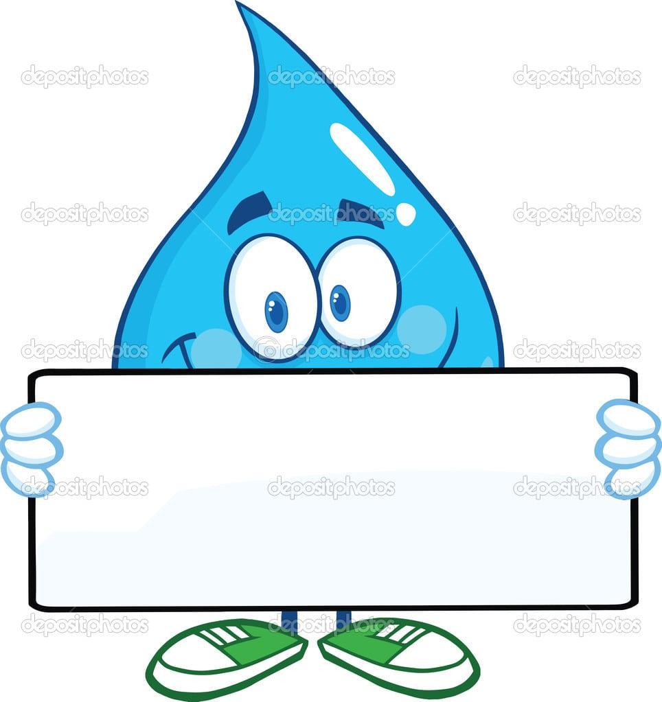 Personagem De Desenho Animado De Gota De água Segurando Uma