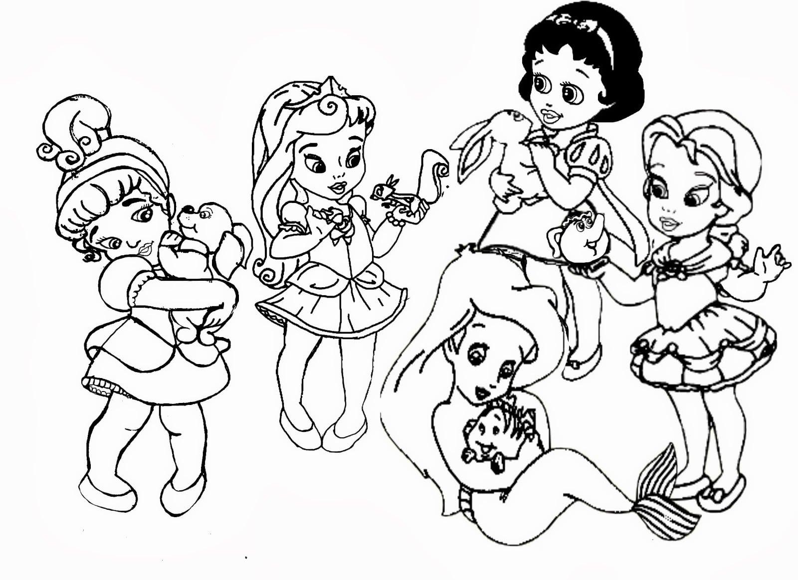 Para Colorear Disney: Desenhos Para Colorir Das Princesas Baby
