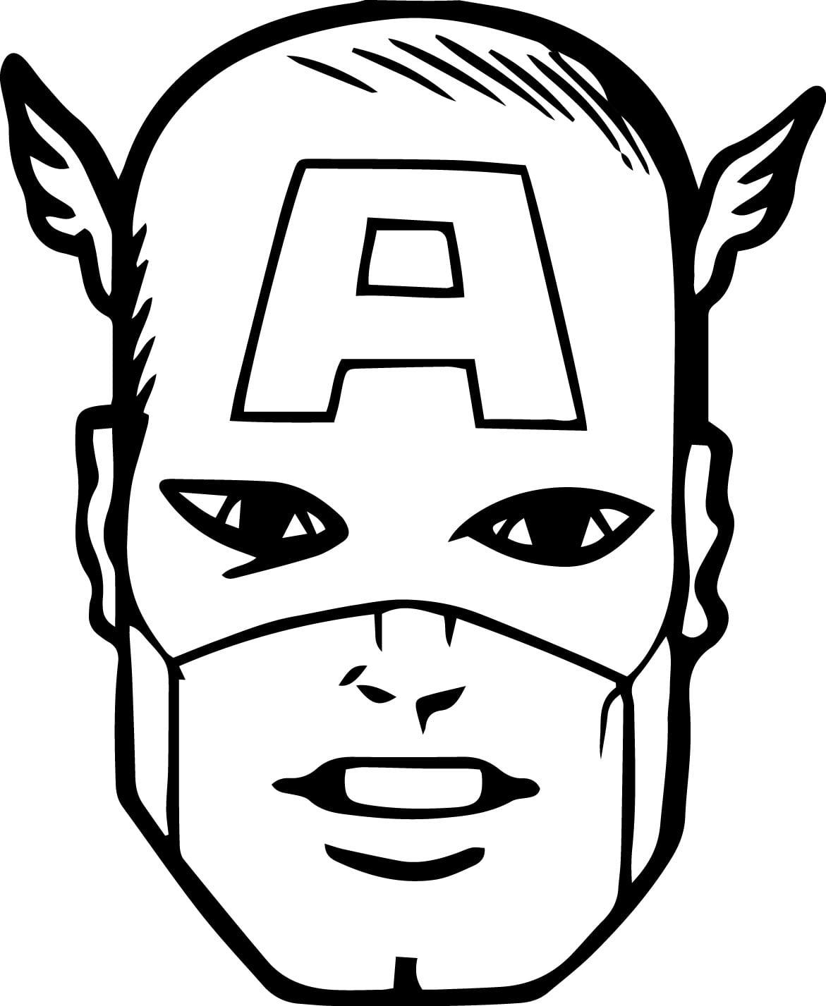 Desenho De Rosto Do Capitão América Para Colorir