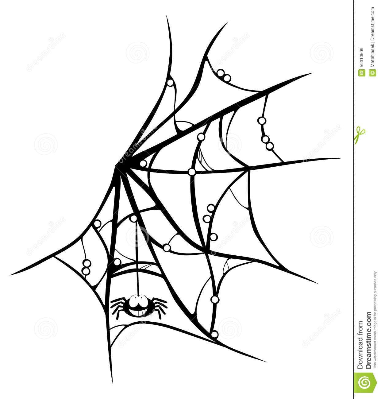 Teia De Aranha Dos Desenhos Animados Com A Aranha De Sorriso No