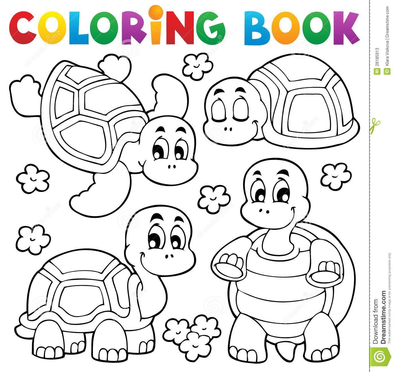 Tema 1 Da Tartaruga Do Livro Para Colorir Ilustração Do Vetor