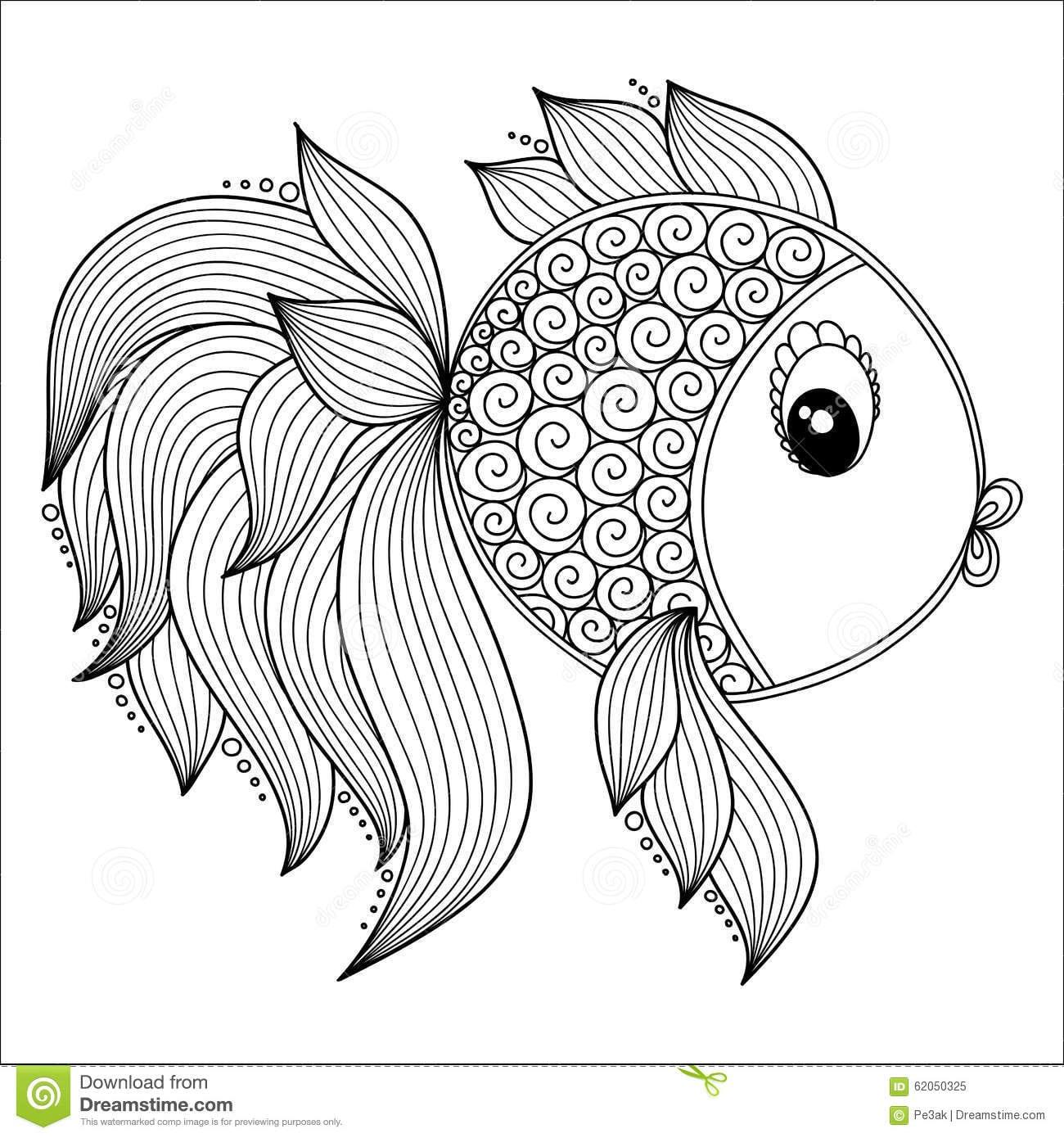 Teste Padrão Para O Livro Para Colorir Peixes Bonitos Dos Desenhos