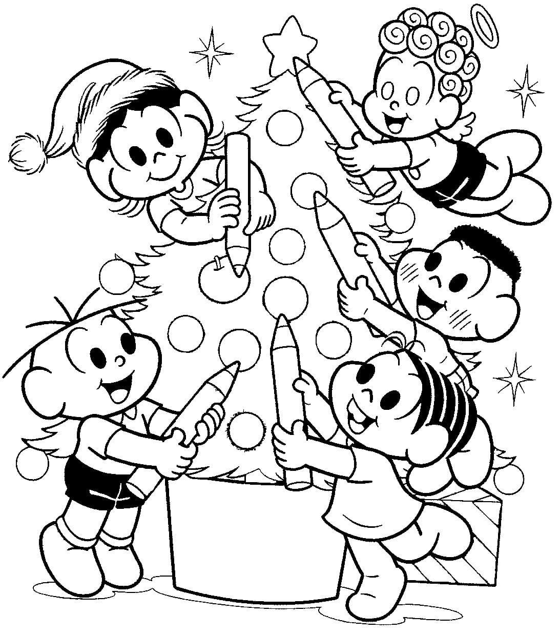 Desenho De Turma Da Monica árvore De Natal Para Colorir