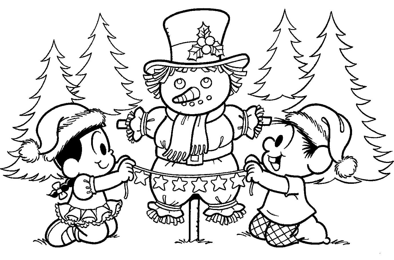 Desenhos Para Colorir Natal Turma Da Monica