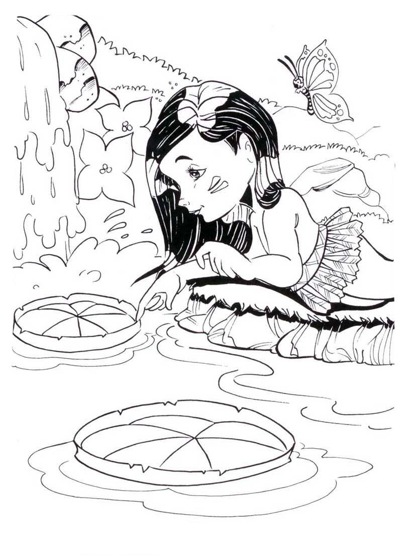 Desenho De Vitória Regia Folclore Brasileiro Para Colorir
