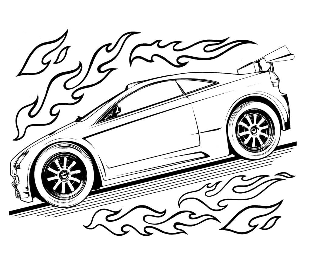 Hot Wheels Speed Turbo Coloring Page For Kids