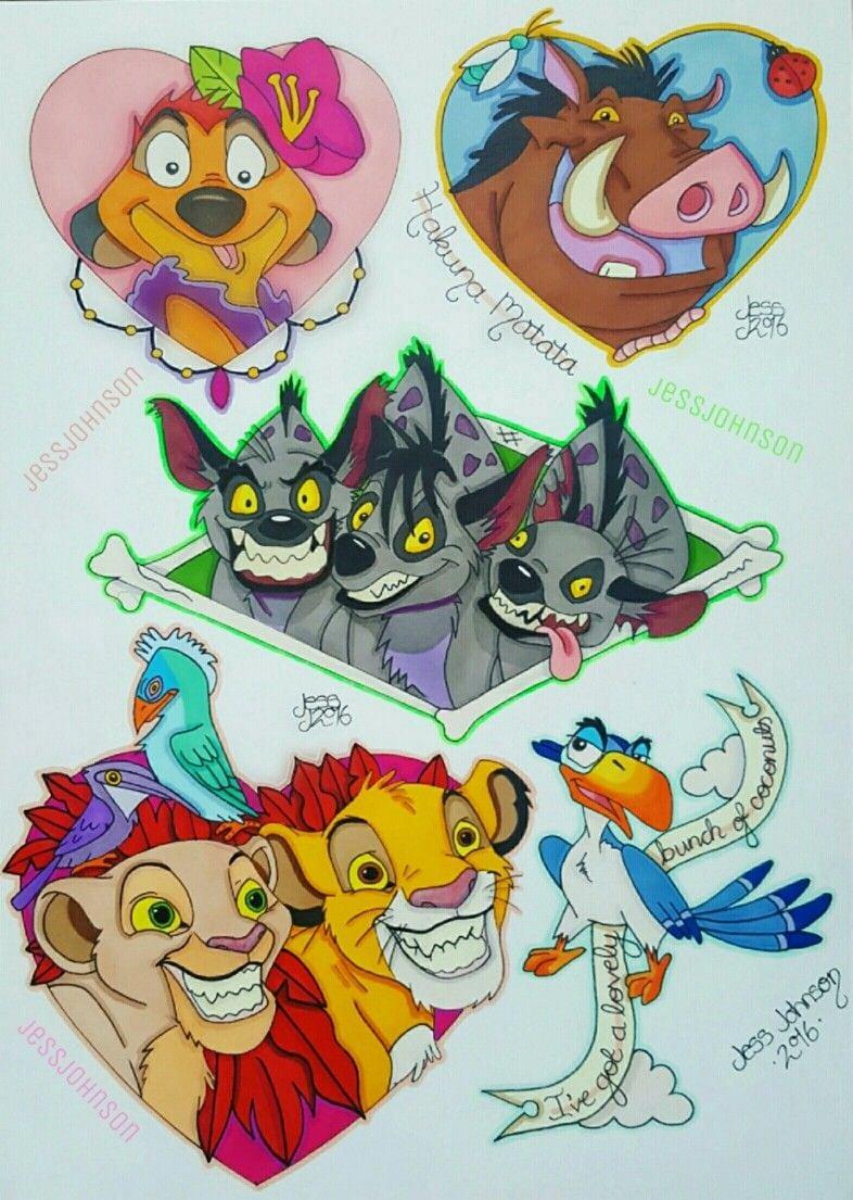 An A4  Lionking  Tattoo  Flash Sheet!  Simba  Nala  Timon  Pumba