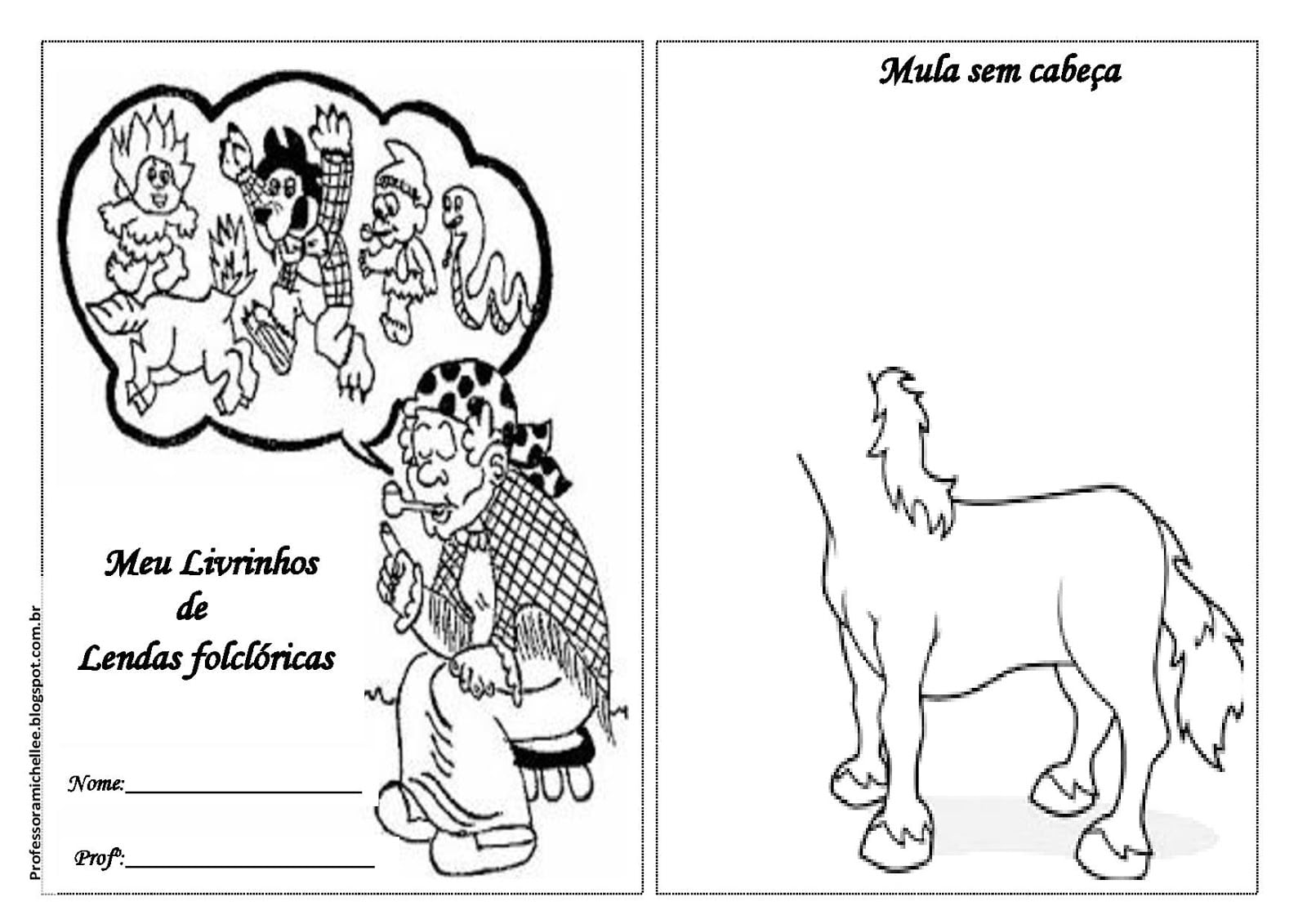 Professora Michelle  Meu Livrinho De Lendas Folclóricas Para Imprimir