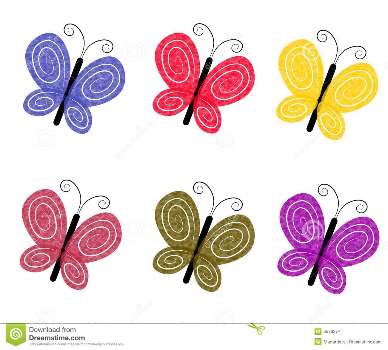 Borboletas Coloridas Textured Ilustração Stock