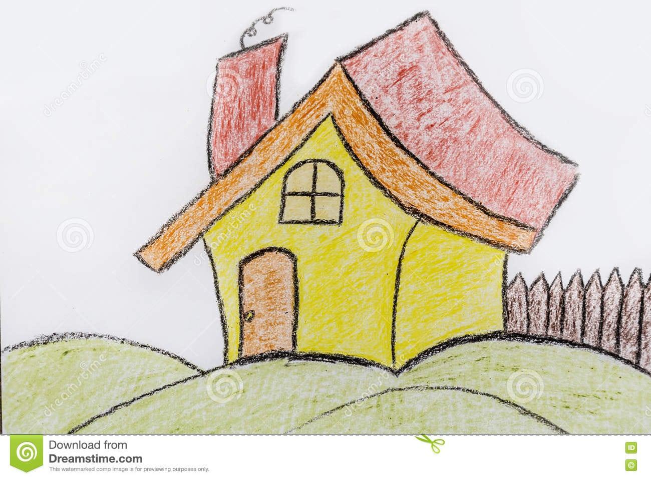 Casa Pintada Amarelo Do ` S Das Crianças Desenho Infantil Da Casa