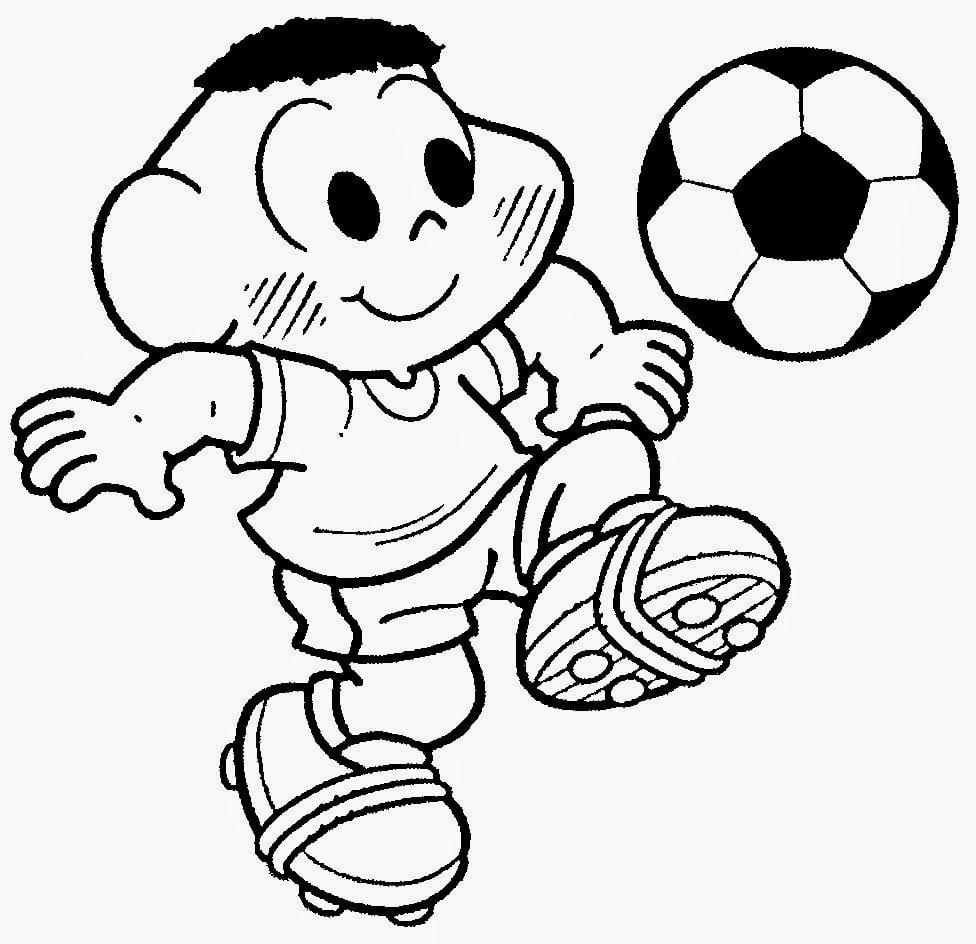 Desenho Do Cascão Jogando Bola Para Colorir