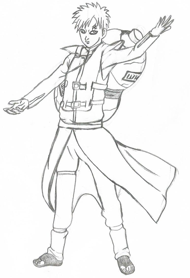 Como Desenhar Gaara  Naruto Shippuden
