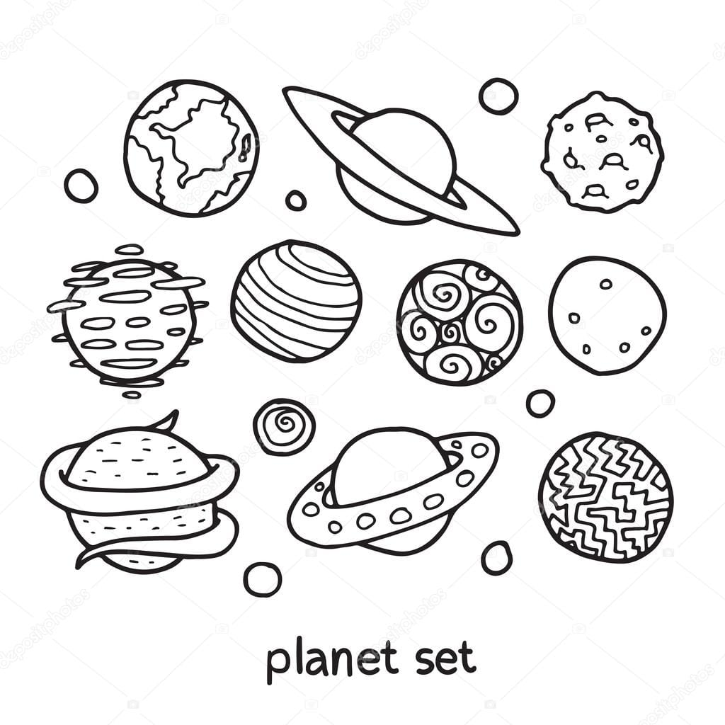 Conjunto De Contorno Dos Desenhos Animados De Planetas Fictícios