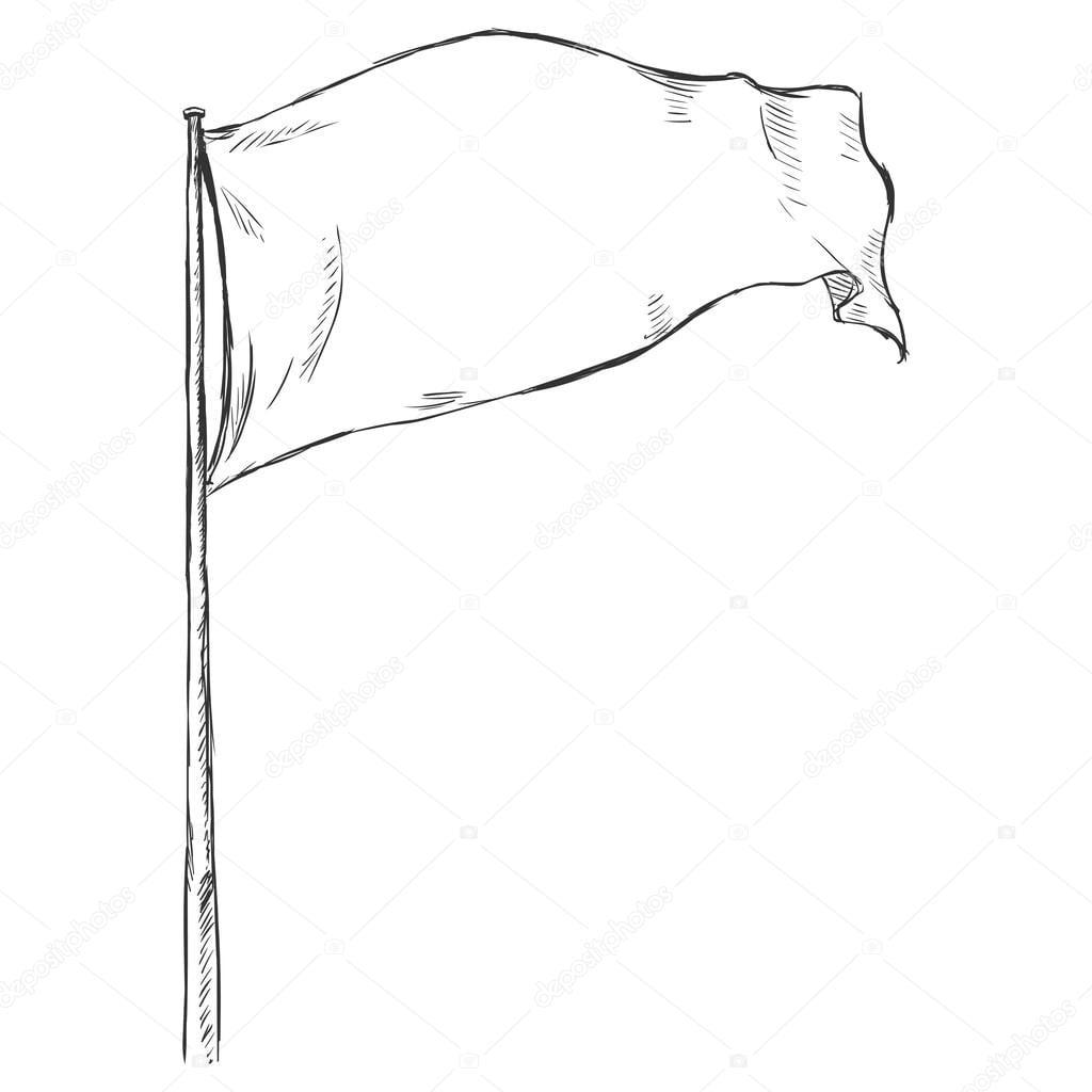 Desenho Ilustração  Bandeira Tremulando Ao Vento — Vetores De