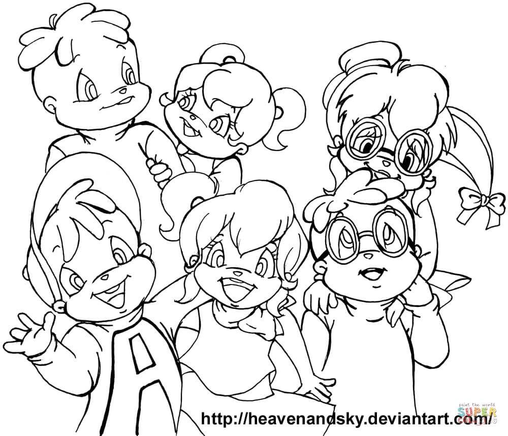 Desenho De Alvin E Os Esquilos E As Chipettes Para Colorir