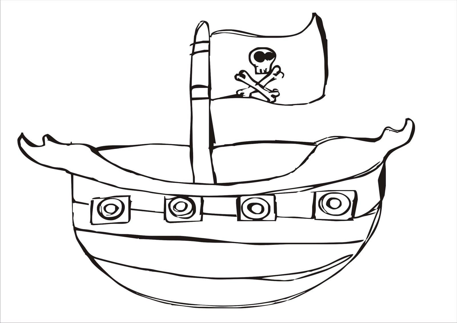 Desenhos Para Colorir  Desenho Para Colorir De Barco Pirata