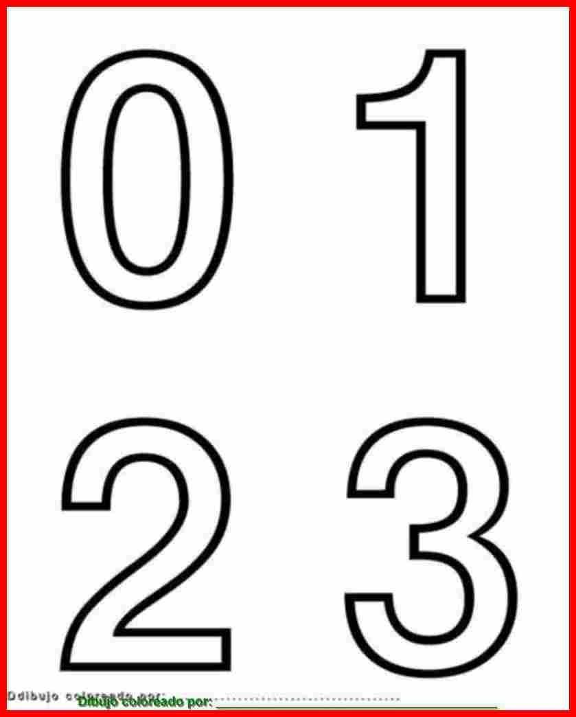 Números 0, 1, 2,3, Para Colorear, Pintar, Imprimir