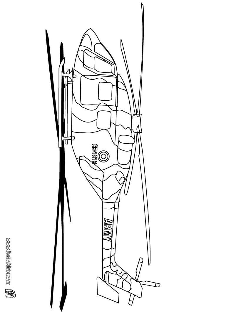 Desenhos Para Colorir De Desenho De Um Helicóptero Do Exército