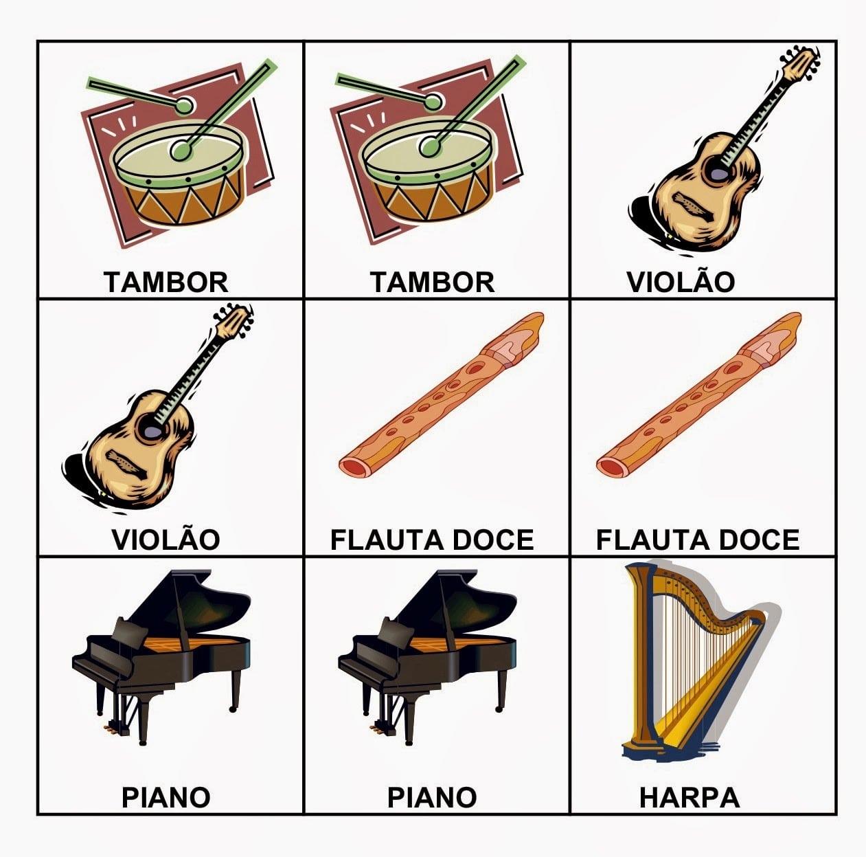 A Música E A Criança  Jogo Da Memória  Instrumentos Musicais