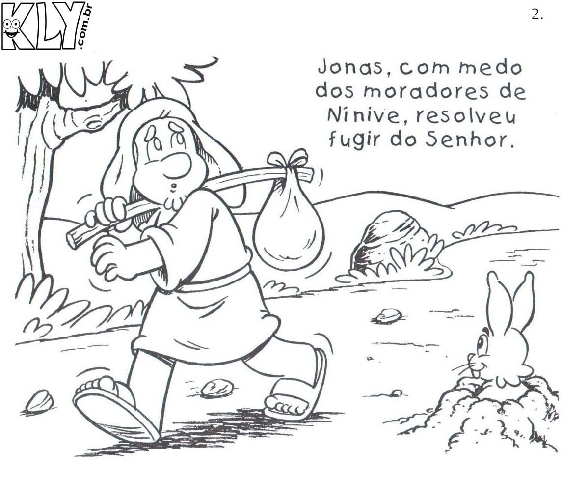 Desenho De Jonas Fugindo De Deus Para Colorir