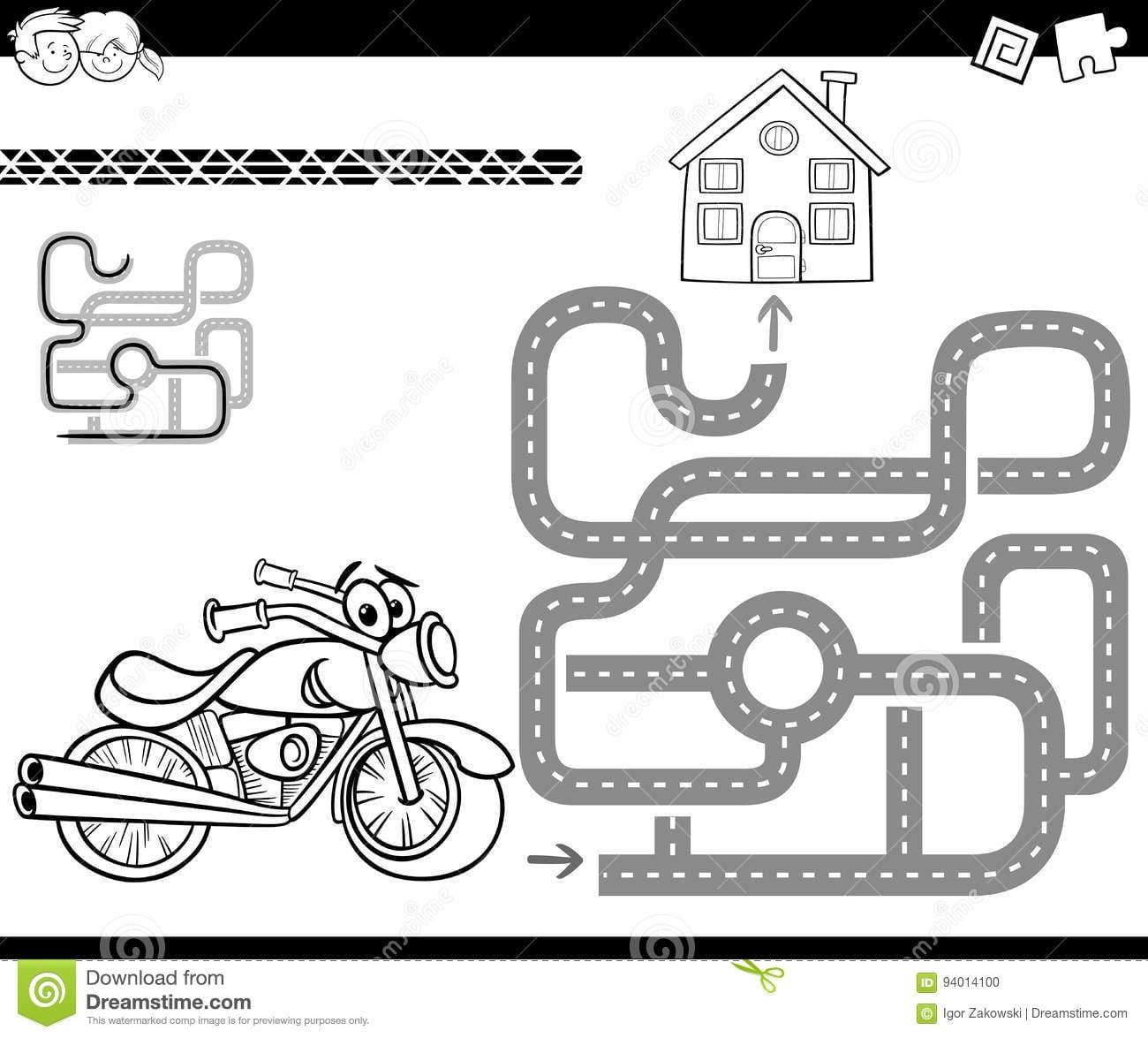 Labirinto Com A Bicicleta Para Colorir Ilustração Do Vetor