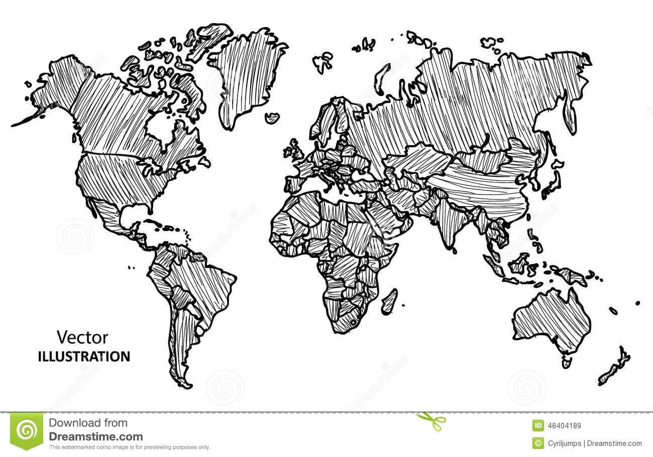 Mapa Do Mundo Do Desenho Da Mão Com Países Ilustração Do Vetor