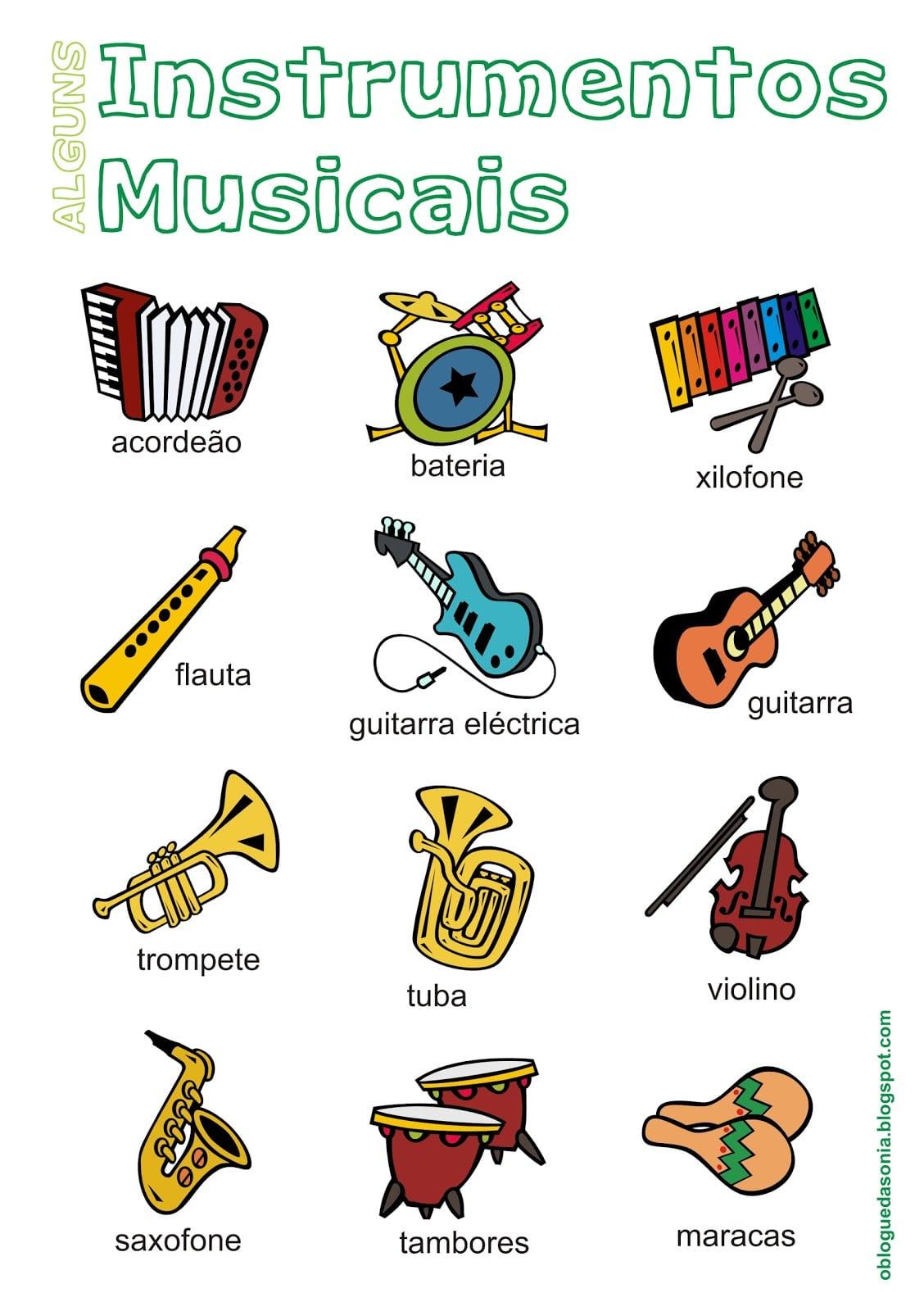 O Blogue Da Sónia  Materiais  Alguns Instrumentos Musicais