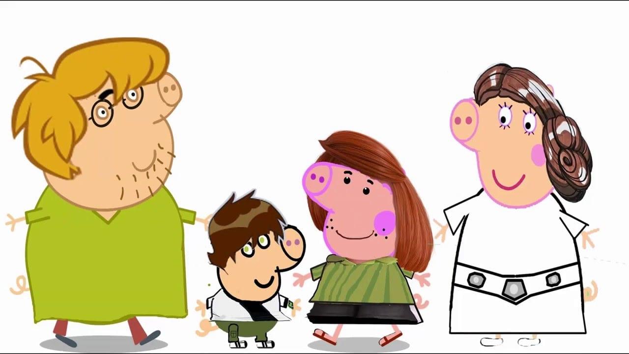 Família Peppa Pig, Desenho Pintado, Salsicha(scooby Doo), Ben10
