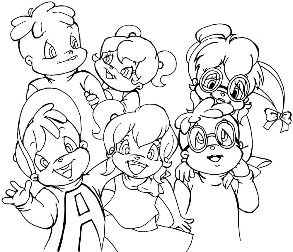 Desenho De Meninos De Alvin E Os Esquilos Para Colorir
