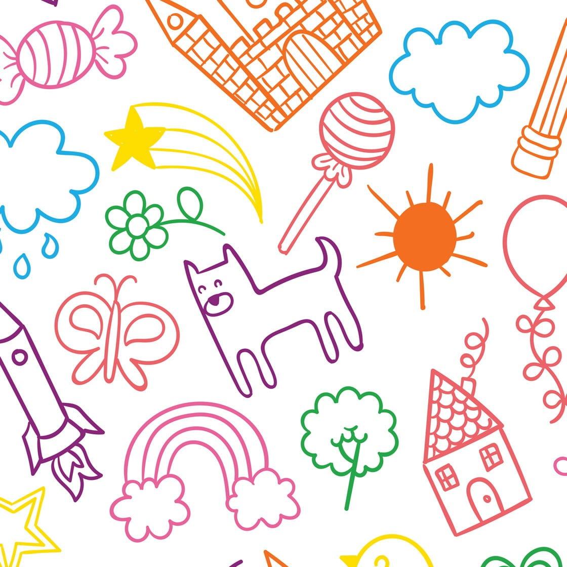 Papel De Parede Autocolante Infantil Desenhos Coloridos